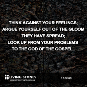 Think against your feelings; argue yourself out of the gloom they have spread; look up from your problems to the God of the gospel.  J.I. Packer