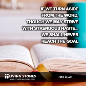 If we turn aside from the Word, though we may strive with strenuous haste...we shall never reach the goal. -- Calvin